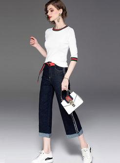 O-neck Half Sleeve Top & Wide Leg Denim Pants