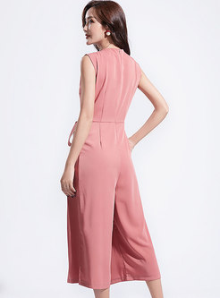 Elegant Sleeveless Tied Bowknot Work Jumpsuit