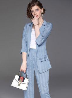 Work Lapel Slim Blazer With Cami & Harem Pants