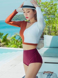 Stylish Color-blocked V-neck High Waist Tankini