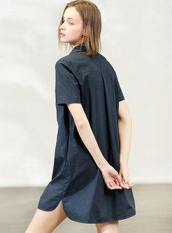 Brief Navy Turn-down Collar Cotton T-shirt Dress