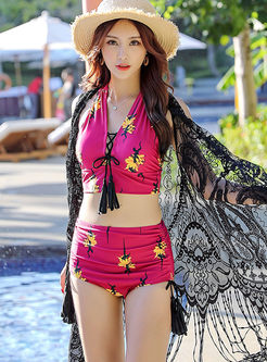 Stylish Print Perspective Cover-up Swimwear