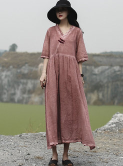 Retro Pure Color V-neck Half Sleeve Loose Maxi Dress