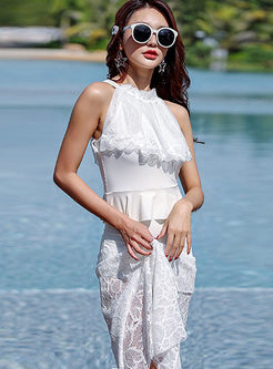 Brief White Conservative Cover-up Swimwear