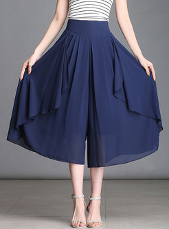 Solid Color Loose Chiffon Wide Leg Pants