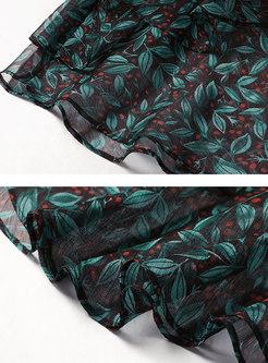 Chiffon Print High Waist Falbala Skirt
