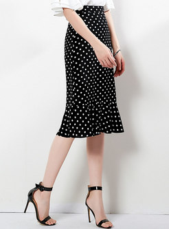 Chic Polka Dot High Waist Mermaid Skirt