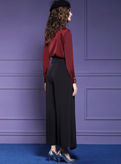 Pure Color V-neck Slim Top & High Waist Wide Leg Pants