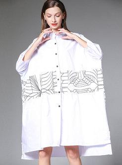 Casual Print Lapel Single-breasted Loose Dress