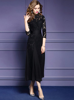 Elegant Lace Hollow Out Slim Maxi Dress