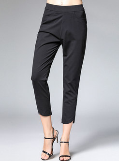 Pure Color Elastic Waist Asymmetric Pencil Pants