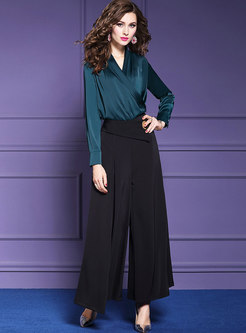 Elegant V-neck Slim Top & High Waist Wide Leg Pants
