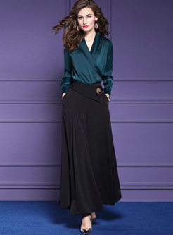 Elegant V-neck Slim Top & High Waist Wide Leg Pants