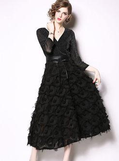 V-neck Three Quarters Sleeve Tassel Dress