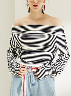 Trendy Striped Slash Neck Slim T-shirt