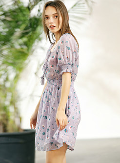 Fashion Tied Elastic Waist Skater Dress