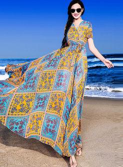 Short Sleeve Print Plaid Chiffon Dress