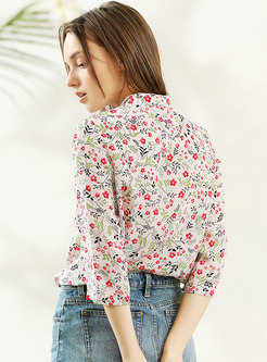 3e0f2a6ef32030 Vintage Multicolor Stand Collar Silk Blouse Vintage Multicolor Stand Collar  Silk Blouse ...