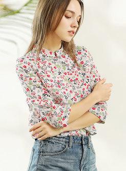 da97f2fac528e9 ... Vintage Multicolor Stand Collar Silk Blouse ...
