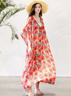 V-neck Plus-size Print Loose Maxi Dress