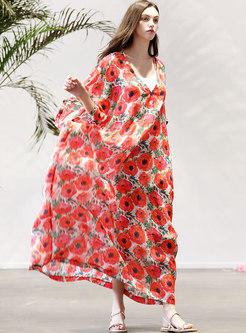 V-neck Plus-size Print Loose Maxi Dress