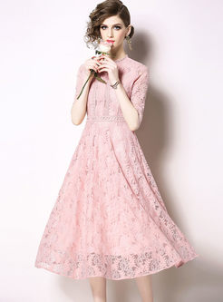 Sweet Pink Hollow Out Lace Dress