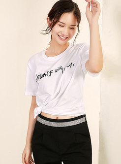 Brief Letter Print O-neck T-shirt