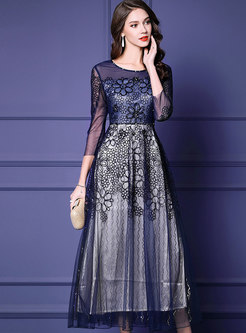 Mesh Splicing Embroidered Drilling Party Maxi Dress