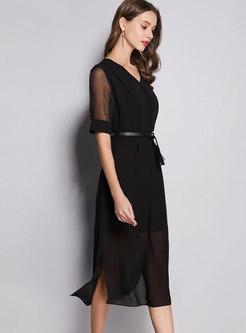 Elegant V-neck Tie-waist Slit Bodycon Dress
