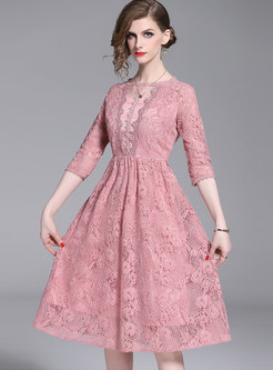 Stylish Lace O-neck Gathered Waist Skater Dress