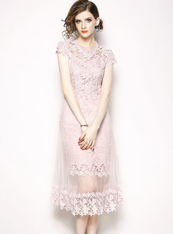 Pink Sweet Hollow Out Lace Mesh Dress