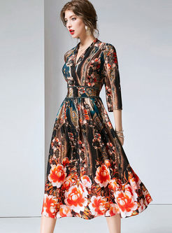 Three Quarters Sleeve Silk Printed Dress