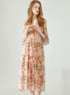 Casual Silk Print Lace Fare Sleeve Shift Dress