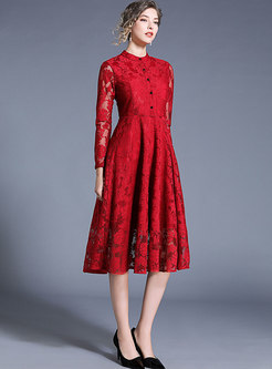 Solid Color Stand Collar Lace Hollow Out Skater Dress