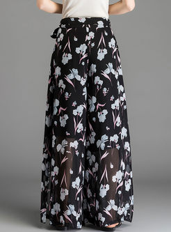 Stylish Printed Slit Chiffon Pants