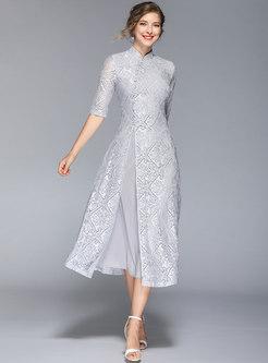 Mandarin Collar Lace Patchwork Chiffon Bridesmaid Dress