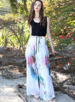 Summer Casual Elastic Waist Chiffon Pants