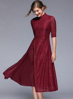 Ethnic Split Pure Color Splicing A Line Dress