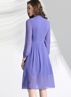 Elegant Stand Collar Slim A Line Dress