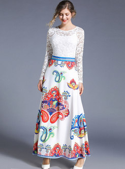Lace Patchwork Print Big Hem Maxi Dress