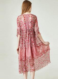 Stylish Lace Embroidered Splicing Silk Shift Dress