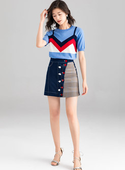 Fashion Color-blocked Knitted Top & Plaid A Line Skirt