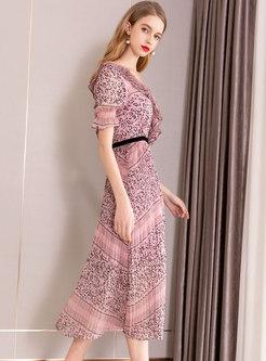 Trendy V-neck Print Gathered Waist Maxi Dress