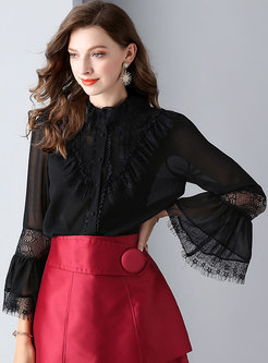 Elegant Black Hollow Out Lace Flare Sleeve Blouse