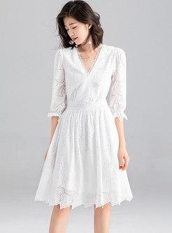 Brief White Gathered Waist Tied Skater Dress