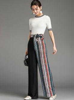 Trendy Color-blocked Striped Chiffon Pants