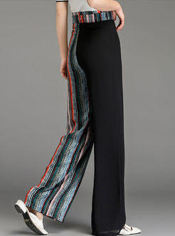 Trendy Color-blocked Striped Chiffon Pants