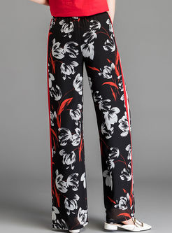 Fashion Printed Elastic Waist Wide Leg Pants