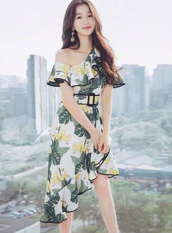Fashion Irregular Neck Falbala Dress