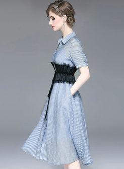 Casual Lapel Plaid Empire Waist Skater Dress